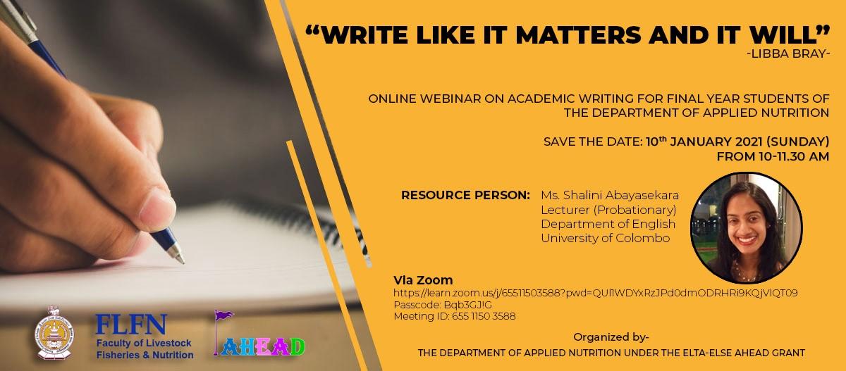 Workshops on Academic Writing