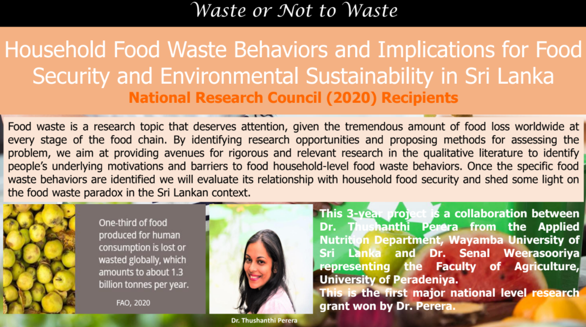 Household Food Waste Behaviors and Implications for Food Security and Environmental Sustainability in Sri Lanka