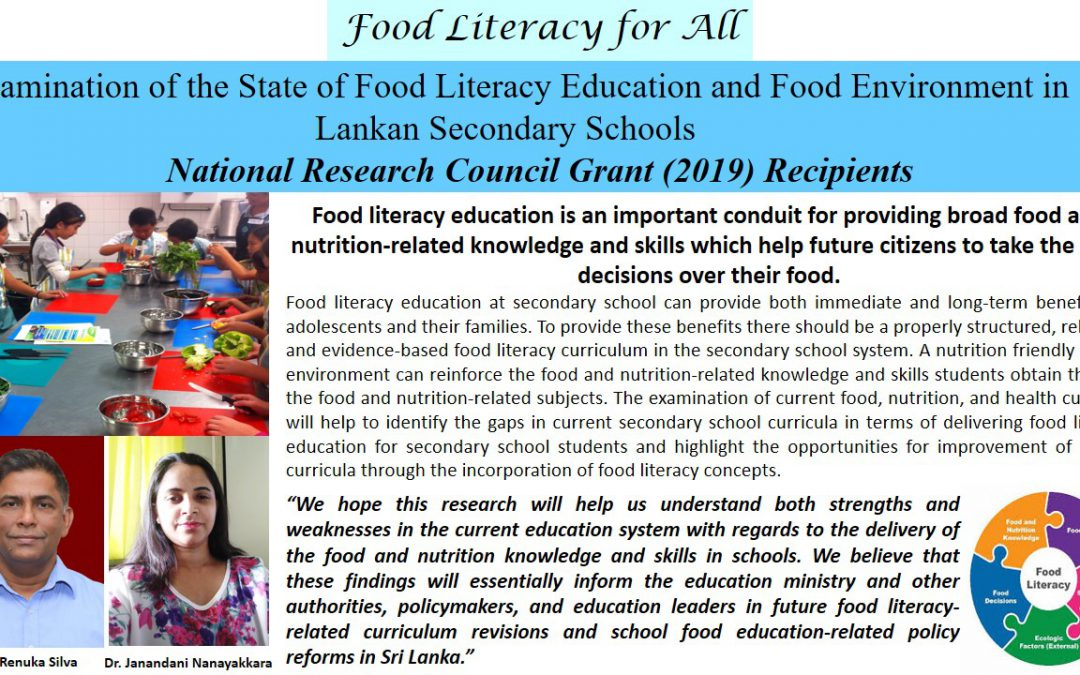 National Research Council Grant (2019) Recipients: Food Literacy for All