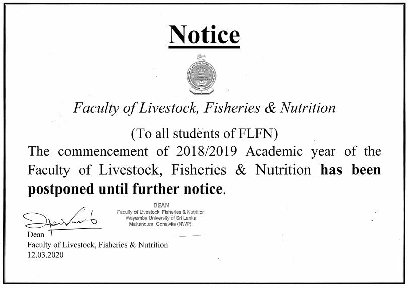 Postponed the FLFN Academic Program