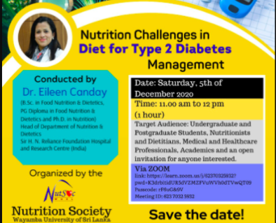 Save the Date: NutSoc offers it's First Virtual Webinar on Nutrition Challenges in Diet for Type 2 Diabetes Management